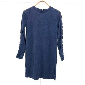 Loft comfy blue lace long sleeve midi dress